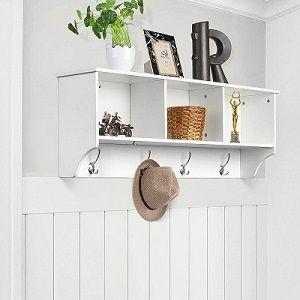 perchero de pared con estante